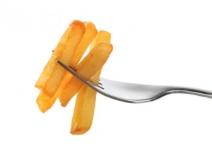 Pommes Frites auf Gabel